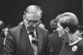 """Krzysztofas Zanussi ir """"Scanoramos"""" direktorė Gražina Arlickaitė. G. Zundelovičiaus nuotr."""